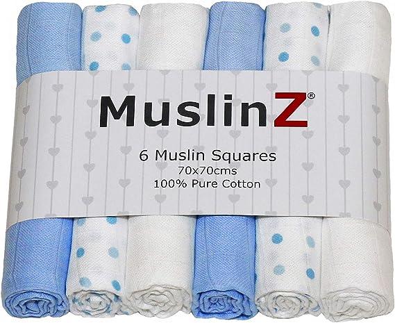 MuslinZ 12PK Carr/és de mousseline pour b/éb/é 100/% pur coton avec imprim/é