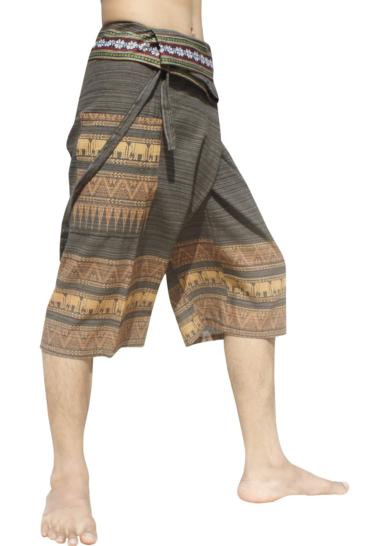 RaanPahMuang Stripe Cotton Fisherman Shorts North Thai Woodblock Artwork and Belt Art, S/M, Gray by RaanPahMuang