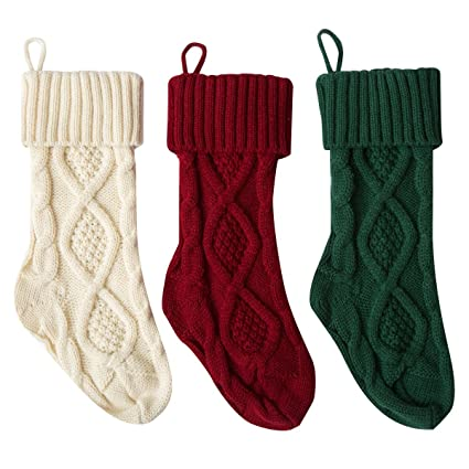polkar knit christmas stockings hanging socks for decoration white red green 18 - Red And Green Christmas Stockings