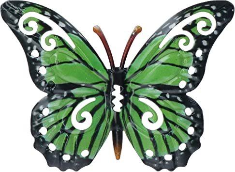 LARGE FLUTTERING BUTTERFLY METAL WALL ART ORNAMENTS INDOOR OUTDOOR STATUES NEW