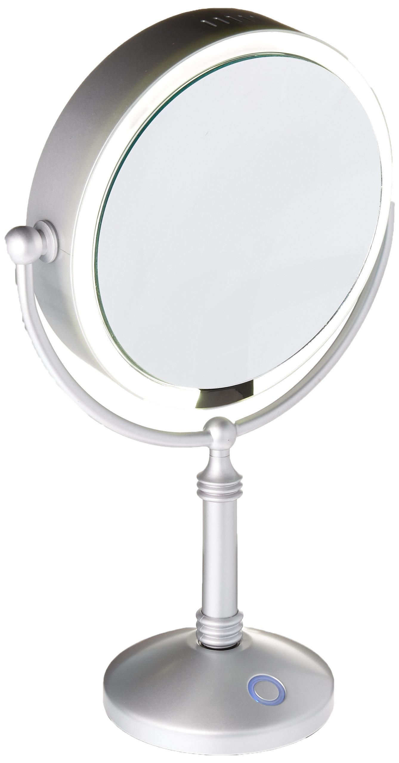 Modern Mirror LED Lighted 7.5'' Modern Makeup Mirror With 10X Magnification, Built in Rechargeable Battery & AC Adapter, Silver