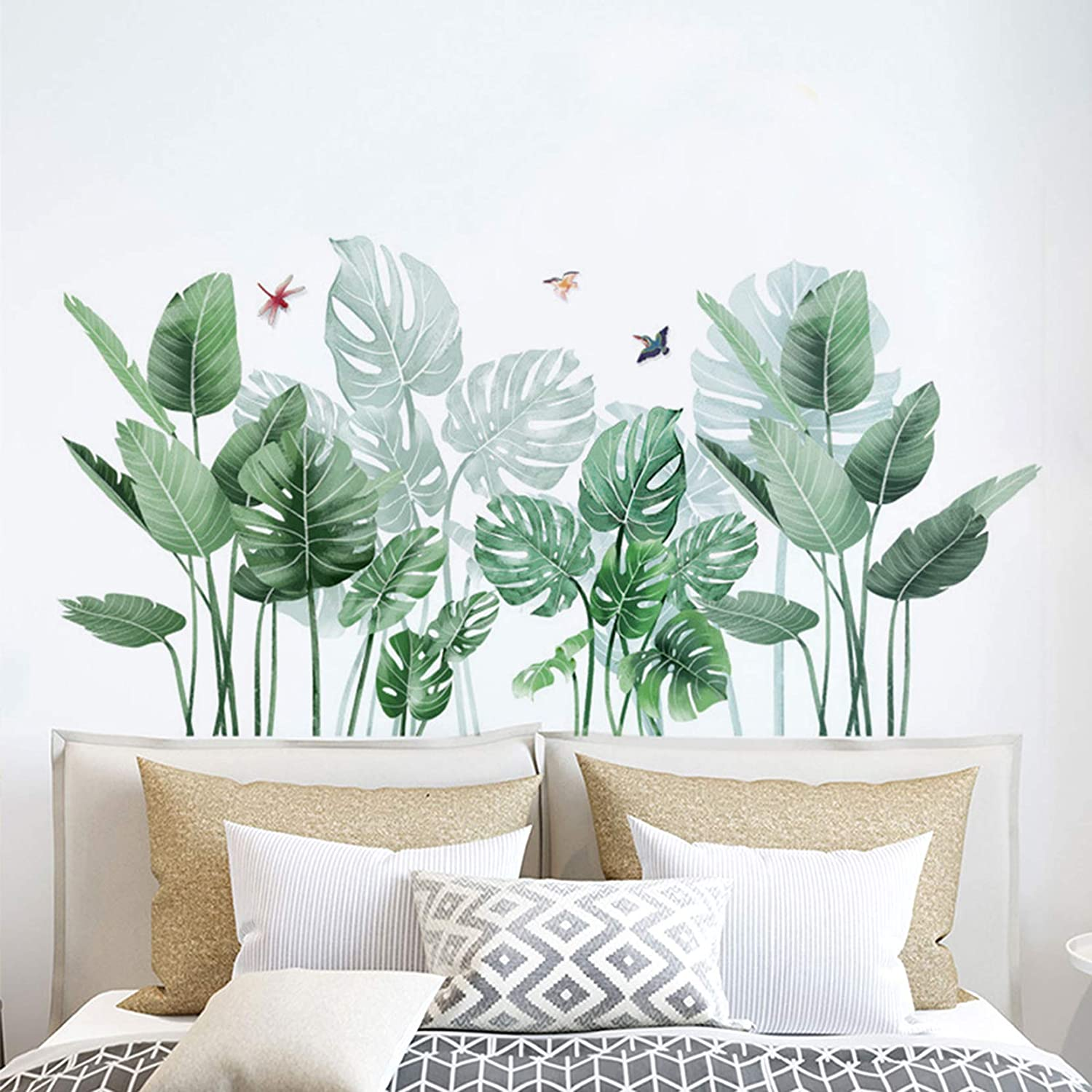 MOLANCIA Tropical Green Leaves Wall Decals, Palms Tree Leaf Wall Stickers, Fresh Plants Nature Monstera Murals, Removable Waterproof Tropical Vinyl Wall Decor for Kids Bedroom Living Home Decorations