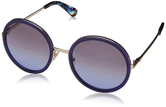 6e834c1104 Image Unavailable. Image not available for. Color  Kate Spade Women s  Lamonica s Round Sunglasses BLUE GOLD ...