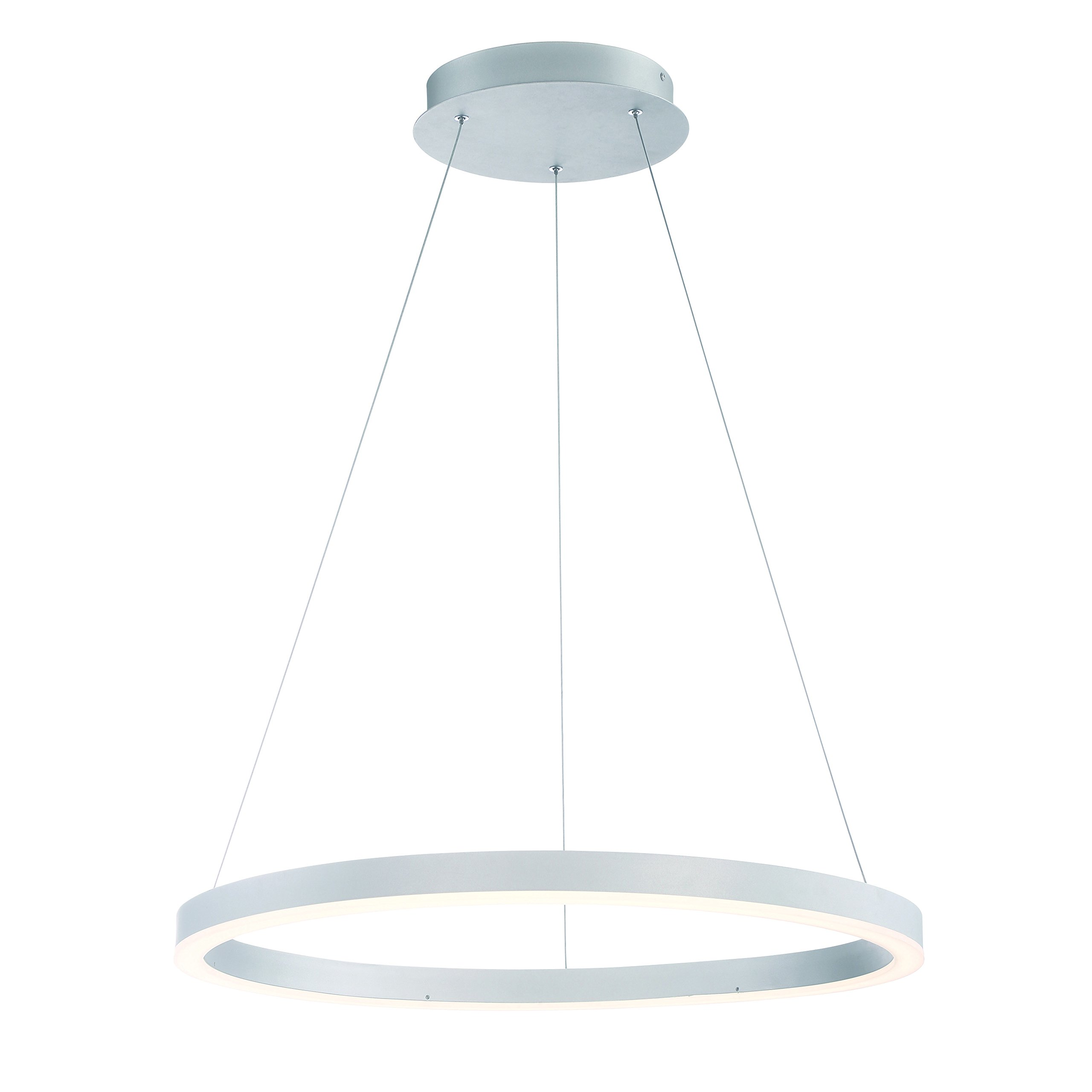 Eurofase 31471-015 Spunto Oversized LED Ring Chandelier Opal Diffused Shade, 27.5 Inches in Diameter-Model, Aluminum Finish