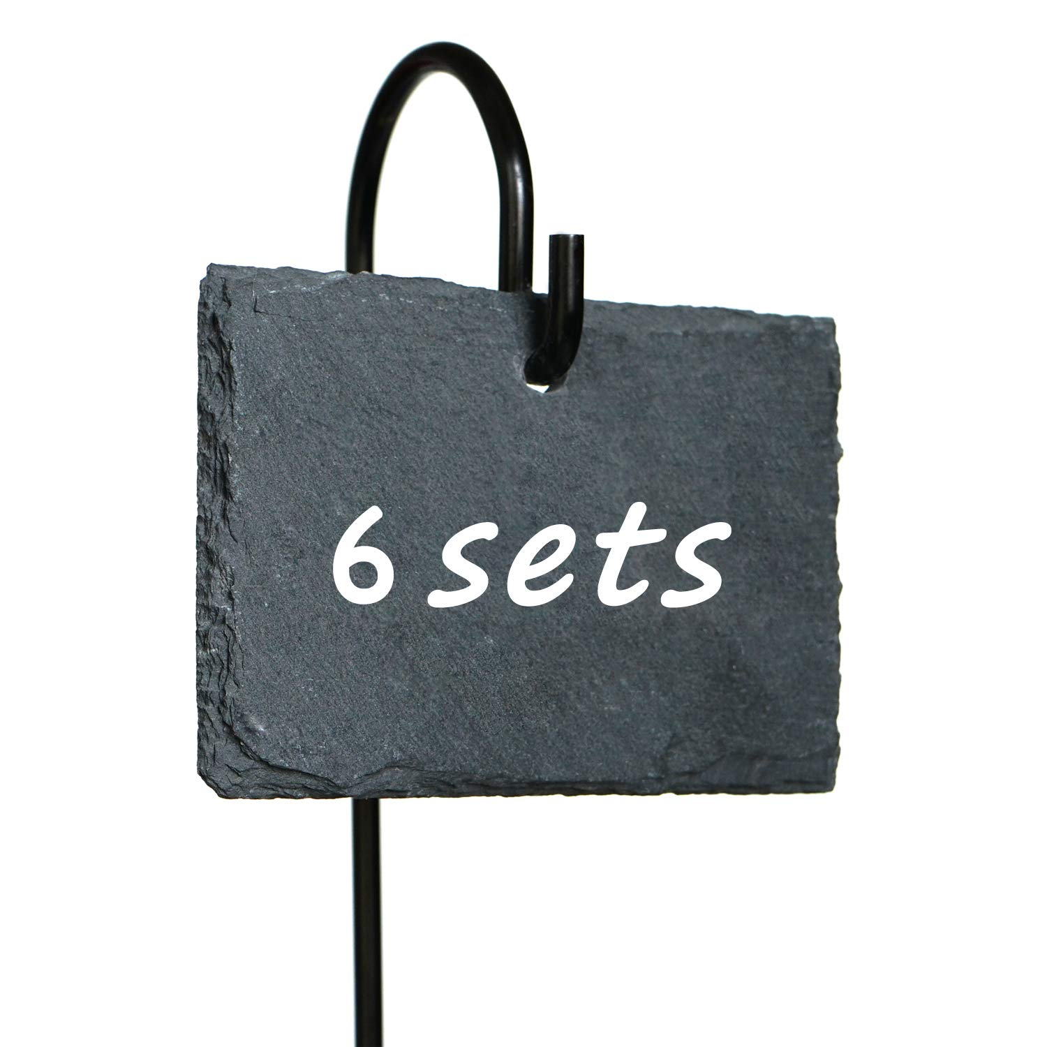 Fendio 6 Sets Plant Labels Signs, 2.75'' × 3.84'' Natural Slate Plant Tags with 16.9'' High Metal Hanger Rod Stakes Garden Labels for Gardening, Green House, Outdoor, Pots, Planters, Vegetable, Herb by Fendio