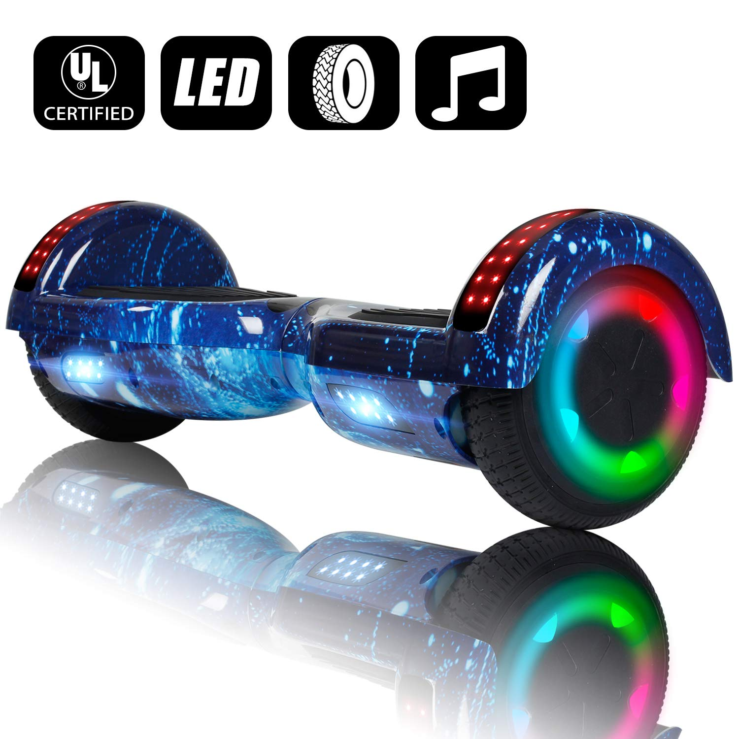 VEVELINE Hoverboard UL2272 Certified 6.5 inch Self Balancing Scooter with Colorful Flash Wheel Top LED Light, Built-in Bluetooth Speaker,Hover Board for Kids Adults Free Carry Bag(Starry Sky) by VEVELINE