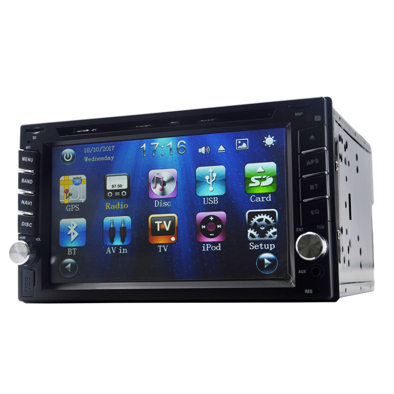 Yody Audio Double Din 6.2'' Car DVD Player Touchscreen Bluetooth DVD/CD/MP3/USB/SD AM/FM RDS Radio Car Stereo In Dash with Backup Camera Remote Control (No Map Card)