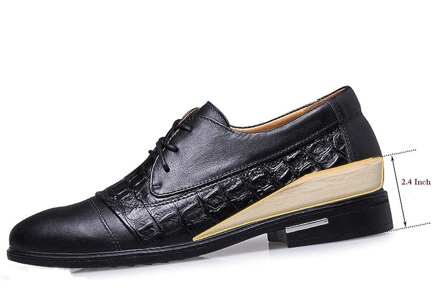 Spades & Clubs Elegante Schuhe, hoher Herren, 6,1 cm hoher Schuhe, versteckter Absatz, echtes Krokoleder, für Hochzeiten  formale Anlässe b1805e
