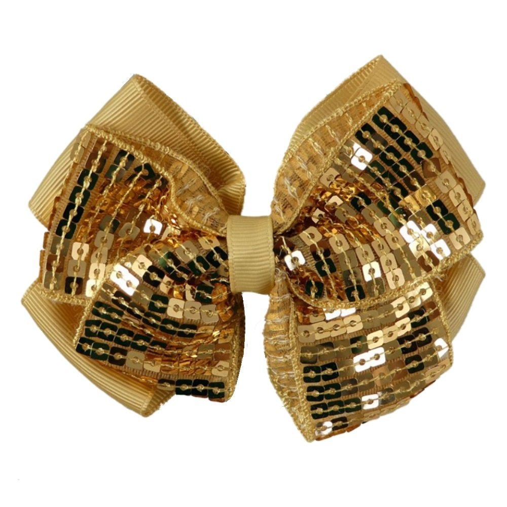 Christmas Gold Sequin Bow Motif Hair Beak Concorde Clip Slide Pritties Accessories