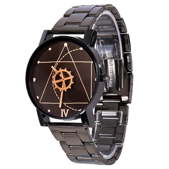 Fashion para hombre negro acero inoxidable relojes retro analógico de cuarzo reloj de pulsera: Amazon.es: Relojes