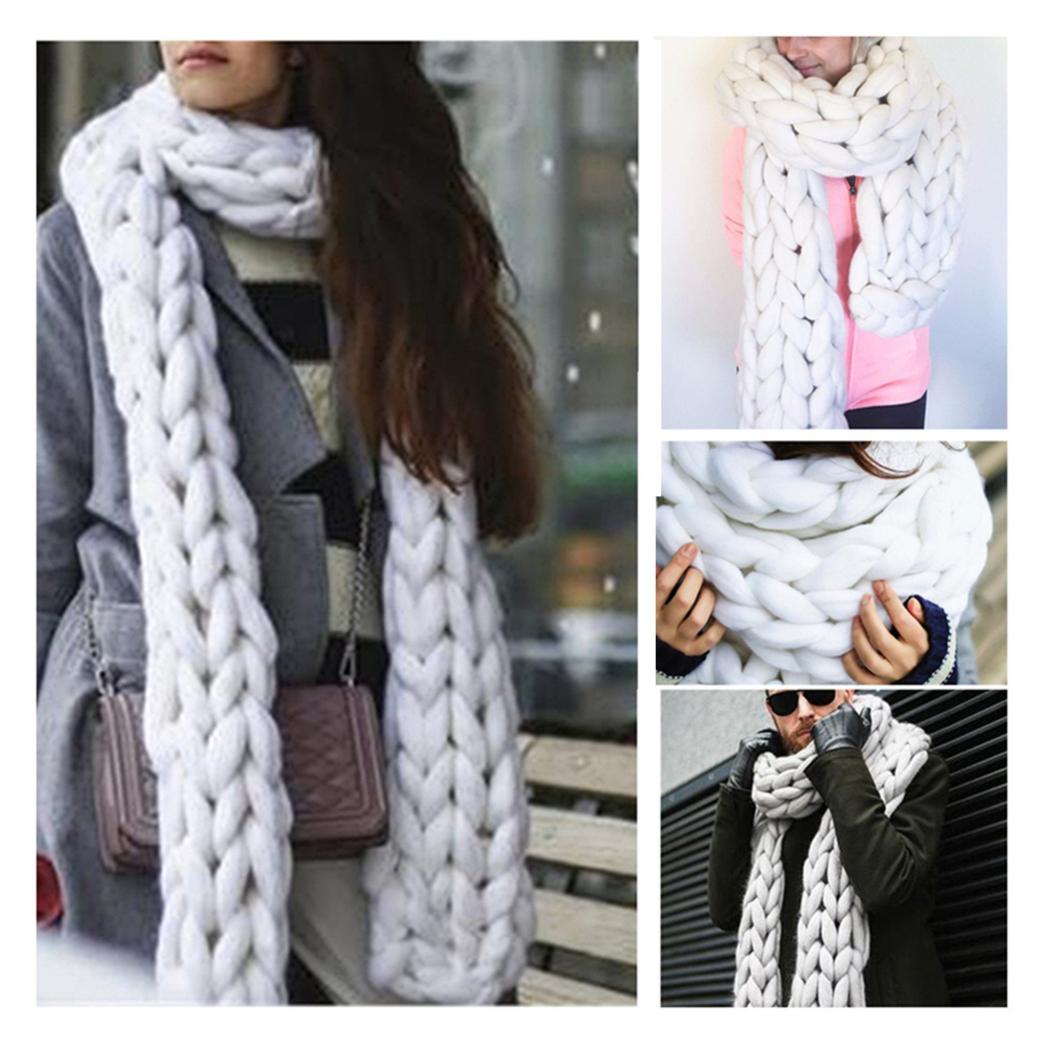 Handmade Chunky Wool Scarf Arm Knit Super Giant Wool Yarn Scarf Infinity Scarf Length 1.5m/59 inches (White)