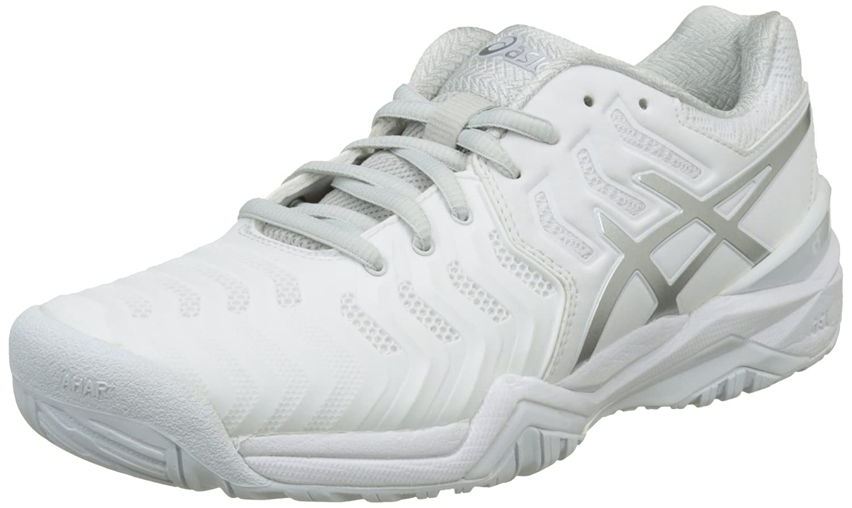 Bianco White/Silver Asics GEL Resolution 7 Scarpe da Ginnastica D