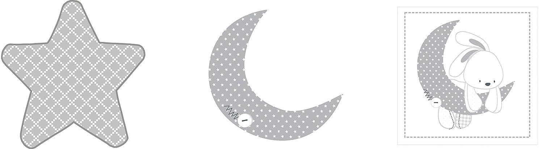 32 x 90 cm Pirulos 16213219 Apliques bordados color blanco y gris dise/ño luna