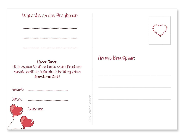 bereits gelocht 50 Ballonflugkarten JUST MARRIED f/ür die Hochzeit Ballon-weitflugkarten extra leichte Ballonkarten wetterfest Postkarten Hochzeit