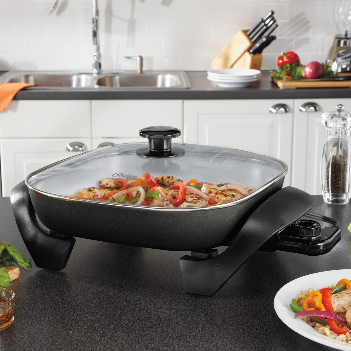 Oster Titanium Infused DuraCeramic Electric Skillet, 12 Inch, Square, Black/Silver (CKSTSKFM12-TECO) by Oster (Image #7)