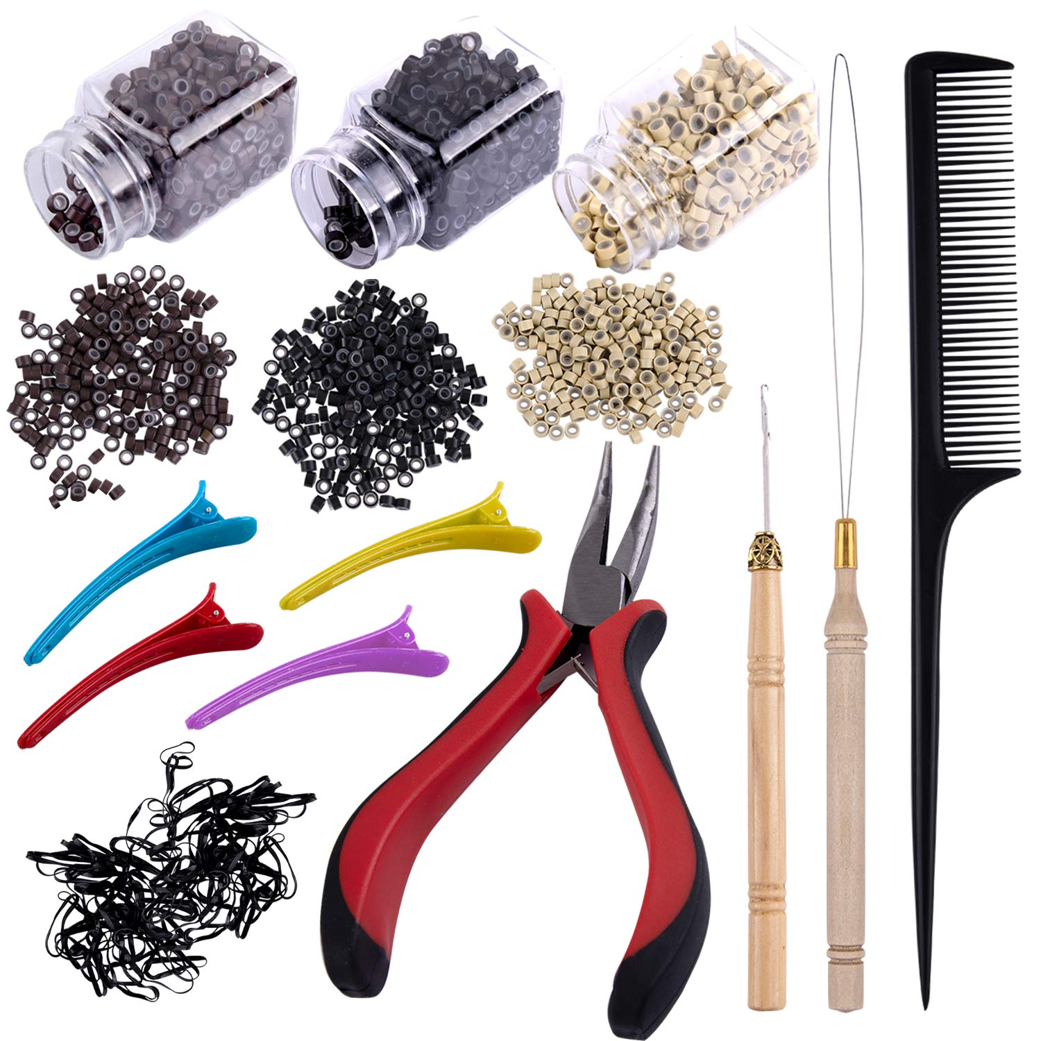 Duufin Hair Extensions Tools Kit 1500 Pcs Micro Ring Beads(Black, Blonde and Brown) 1 Micro Beads Plier 2 Hook Needle Pulling Loop 4 Plastic Alligator Clips 1 Comb and 2 Bags Black Mini Rubber Bands