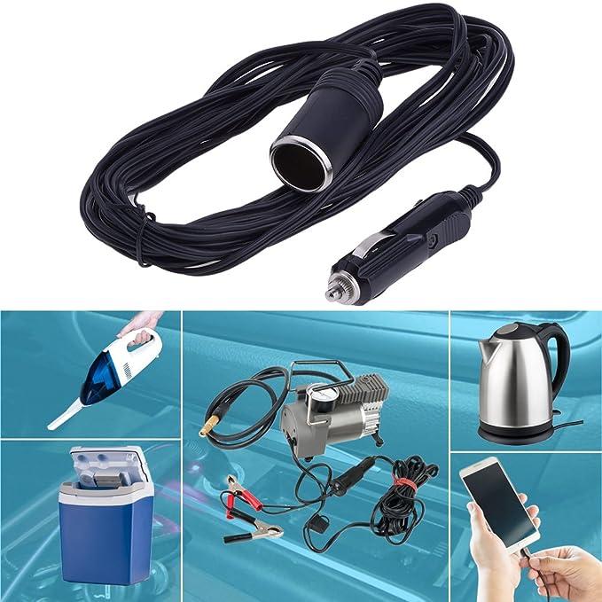 Car Charger Extension Cord Cable Cigarette Lighter Plug Socket, 5M ...