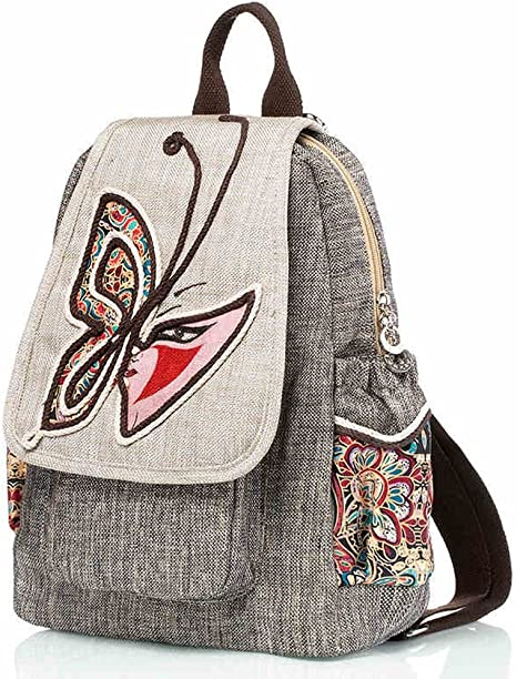 CJH Literary Folk Style Shoulder Bag Ladies Mochila Pintada a Mano ...