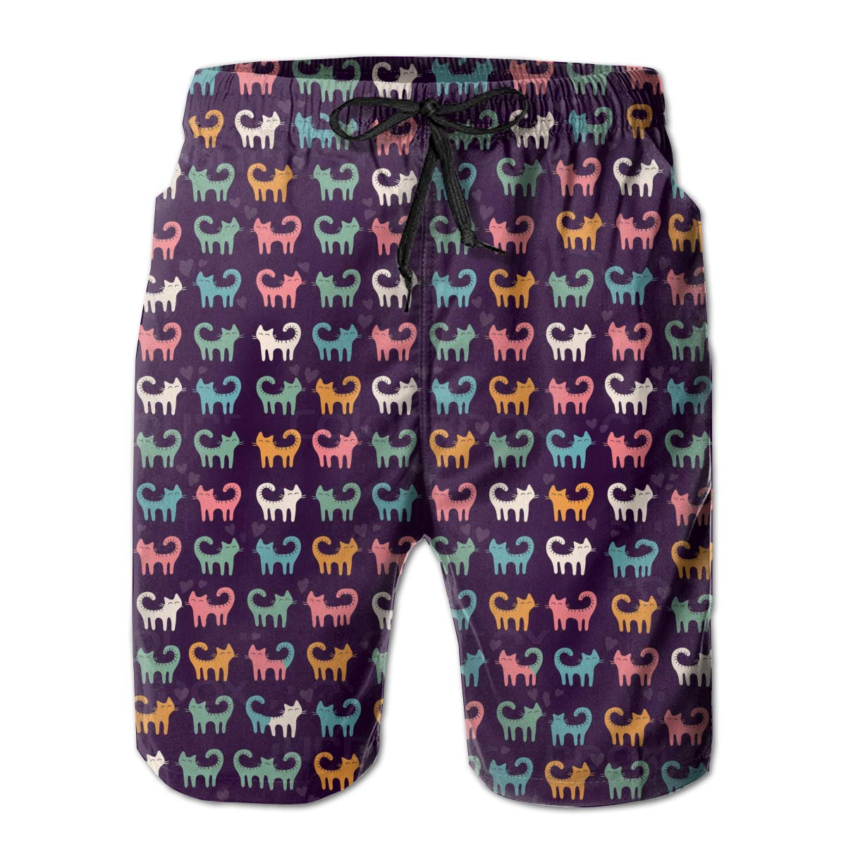 Adorable Cat Beach Shorts Chic Mens Beach Pants Adults Surf Board Trunks Home Leisure Trousers
