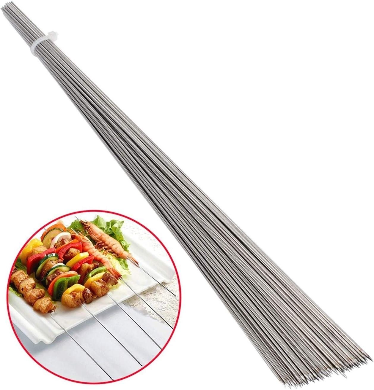 50 unids de acero inoxidable barbacoa palitos de barbacoa bbq cuerda de carne kebab kabob aguja 35 cm para la cocina Camping Herramienta de barbacoa