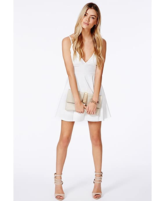 Womens Herta White Strappy Skater Dress - White - 10  Amazon.co.uk  Clothing c483181cb