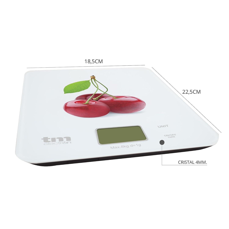 Tm Electron TMPBS022 Báscula Digital de Cocina Ultra Delgada con diseño de Cerezas, Pantalla LCD de 18 mm, Cristal, Blanco: Amazon.es: Hogar
