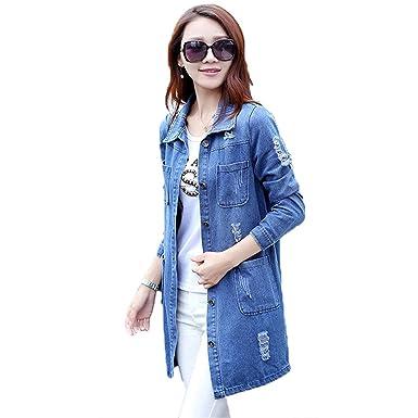 c4c6b99ec0e B dressy Plus Size 5XL Denim Jacket Women Fashion Long Sleeve Jeans Coat  Female Casual Ripped Denim Jacket Tops at Amazon Women s Coats Shop