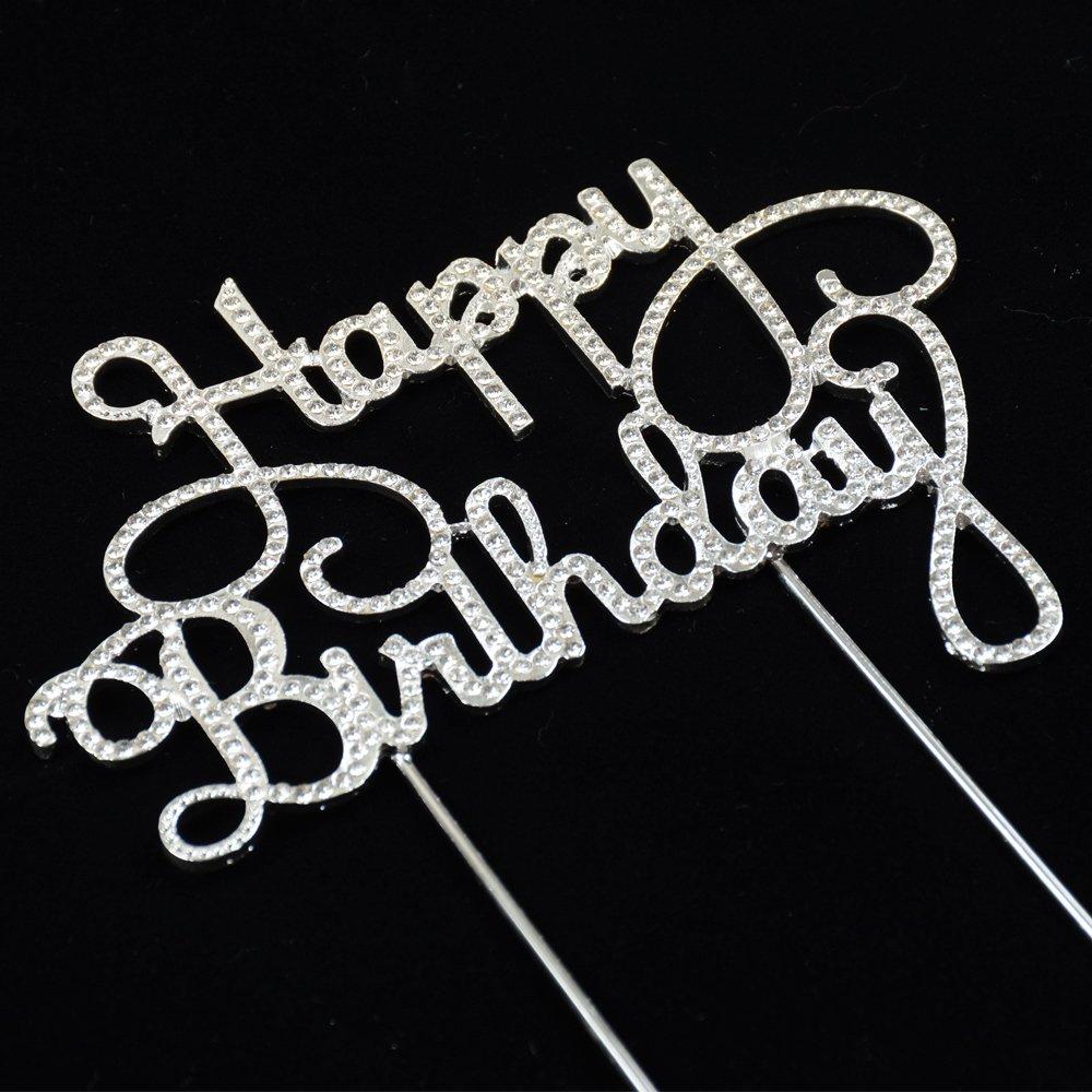 Happy Birthday Rhinestone Cake Topper for Birthday Party Decorations