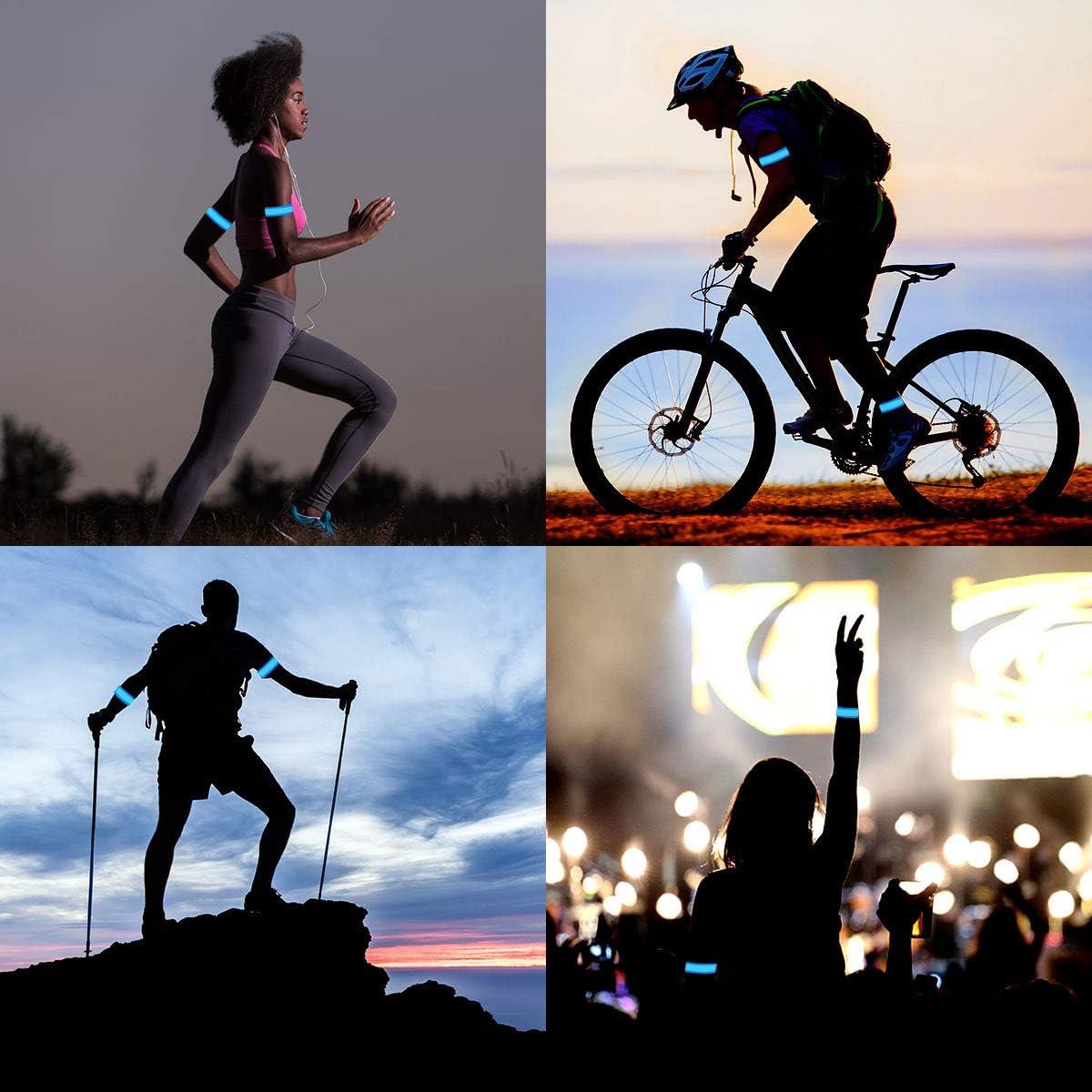 Leuchtarmband Reflektorband Laufen Reflektor Dusor LED Leuchtband Jogger Laufen Licht f/ür Handgelenk Lauflicht LED Reflektoren Joggen Sicherheitslicht Kinder Bein Kn/öchel Arm