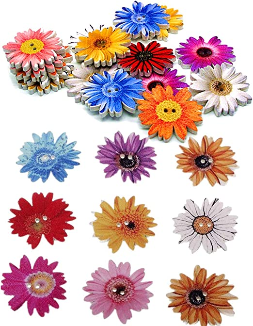 Miss Craft 100 Pieces 1inch Flower Shaped Wood Buttons Daisy Sunflower 2 Holes Sewing Wooden Flatback Buttons for Knitting Scrapbooking DIY Embellishment