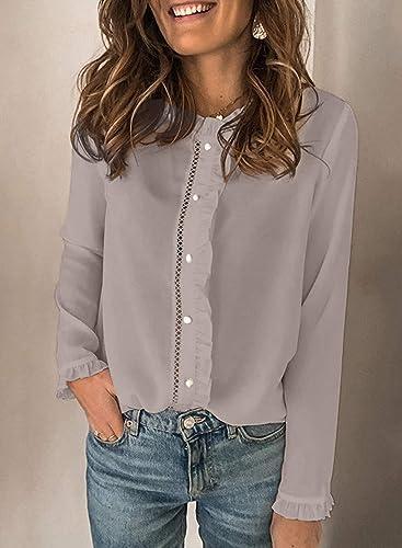 CORAFRITZ Camisa de mujer de manga larga abotonada color liso ...