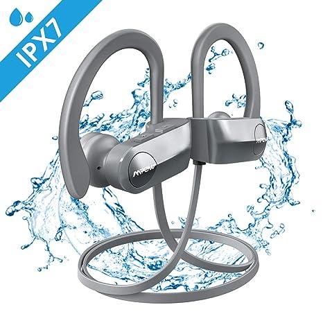 Mpow D7 - Auriculares Deportivos con Bluetooth (Impermeables, IPX7) D7-Silbergrau