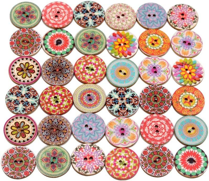 Mahaohao Assorted Flower Painting Wood Big Buttons Round 2 Holes Decorative Wooden Button for Sewing Crafting 25mm 1 Inch 100-Pack