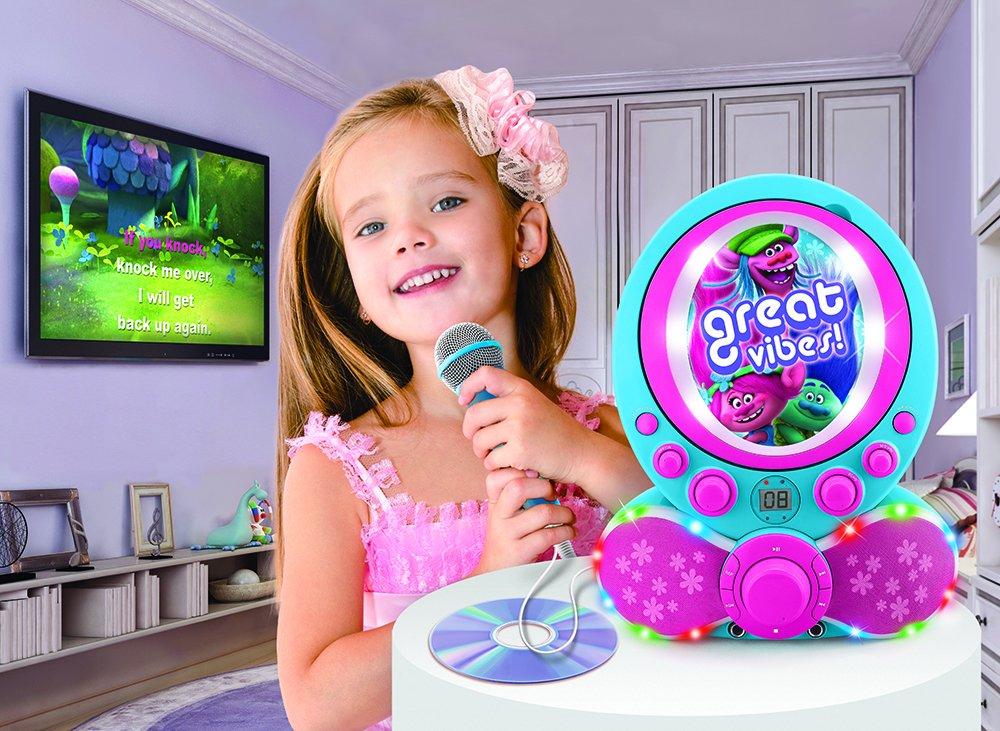 KIDdesigns Trolls CDG Karaoke Machine CD Player with Microphone by KIDdesigns (Image #3)