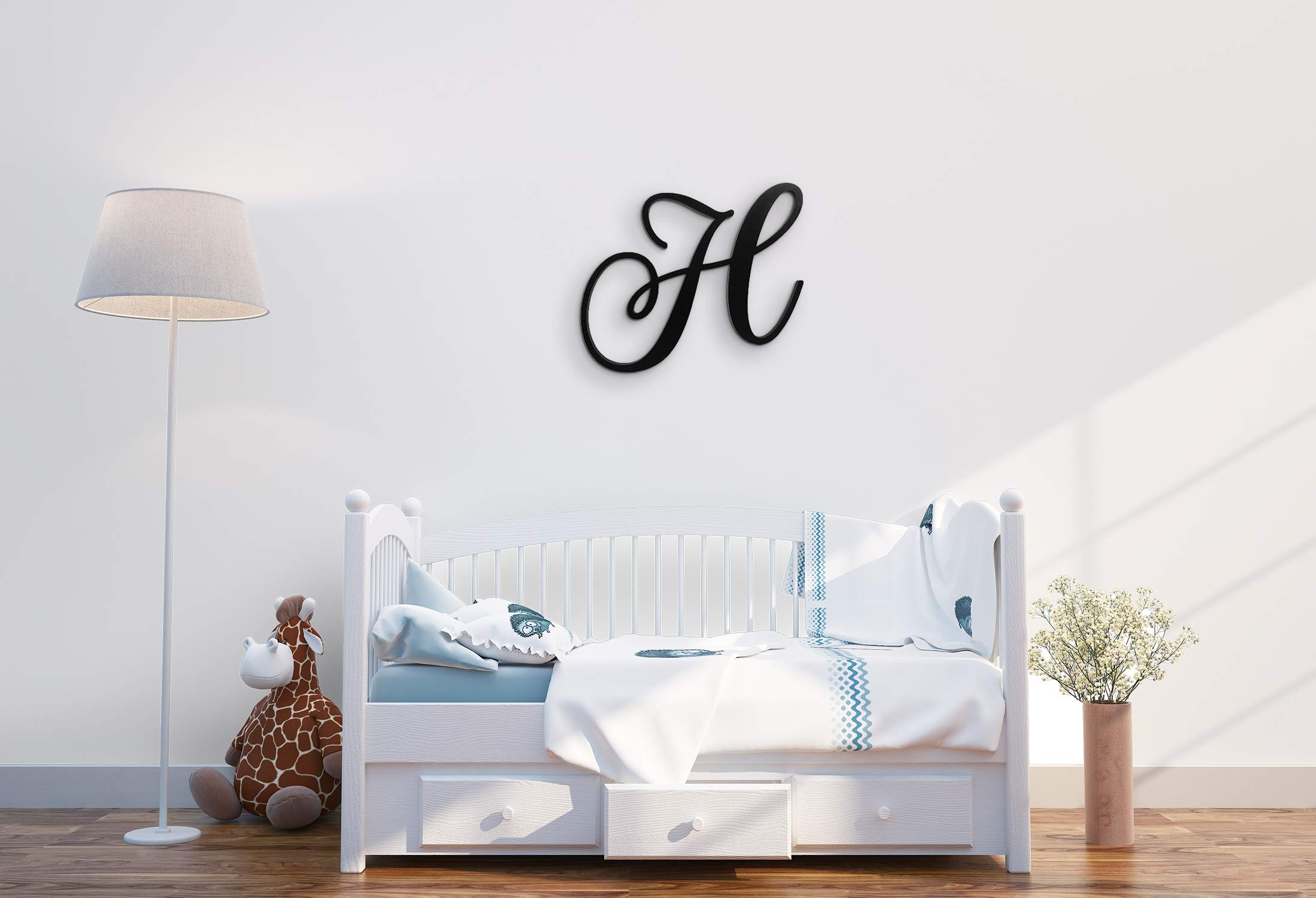 XL Wall Letters Uppercase H | 24'' Wood Paintable Script Capital Letters for Nursery, Home Decor, Wedding Guest Book and More by ROOM STARTERS (H 24'' Black 3/4'' Thick) by ROOM STARTERS (Image #1)