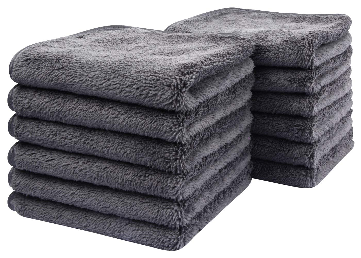 Sinland Microfiber Face Cloths For Bath Reusable Makeup Remover Cloth Ultra Soft and Absorbent Washcloths For Baby 12Inch x 12Inch (12pack, grey)