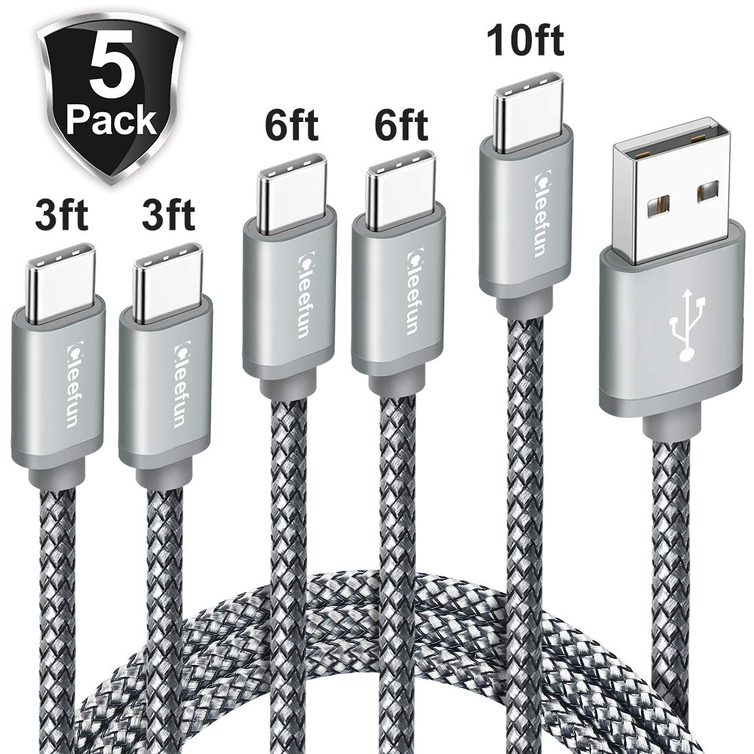CLEEFUN USB Type C Charger Cable [5-Pack, 3/3/6/6/10 ft], Durable Nylon Braided Cord, Data Transfer and Fast Charging Cable for Samsung Galaxy Note 10/10Plus/9/8, S10E, S10 S9 S8 Plus, A70 A50 A30 A20