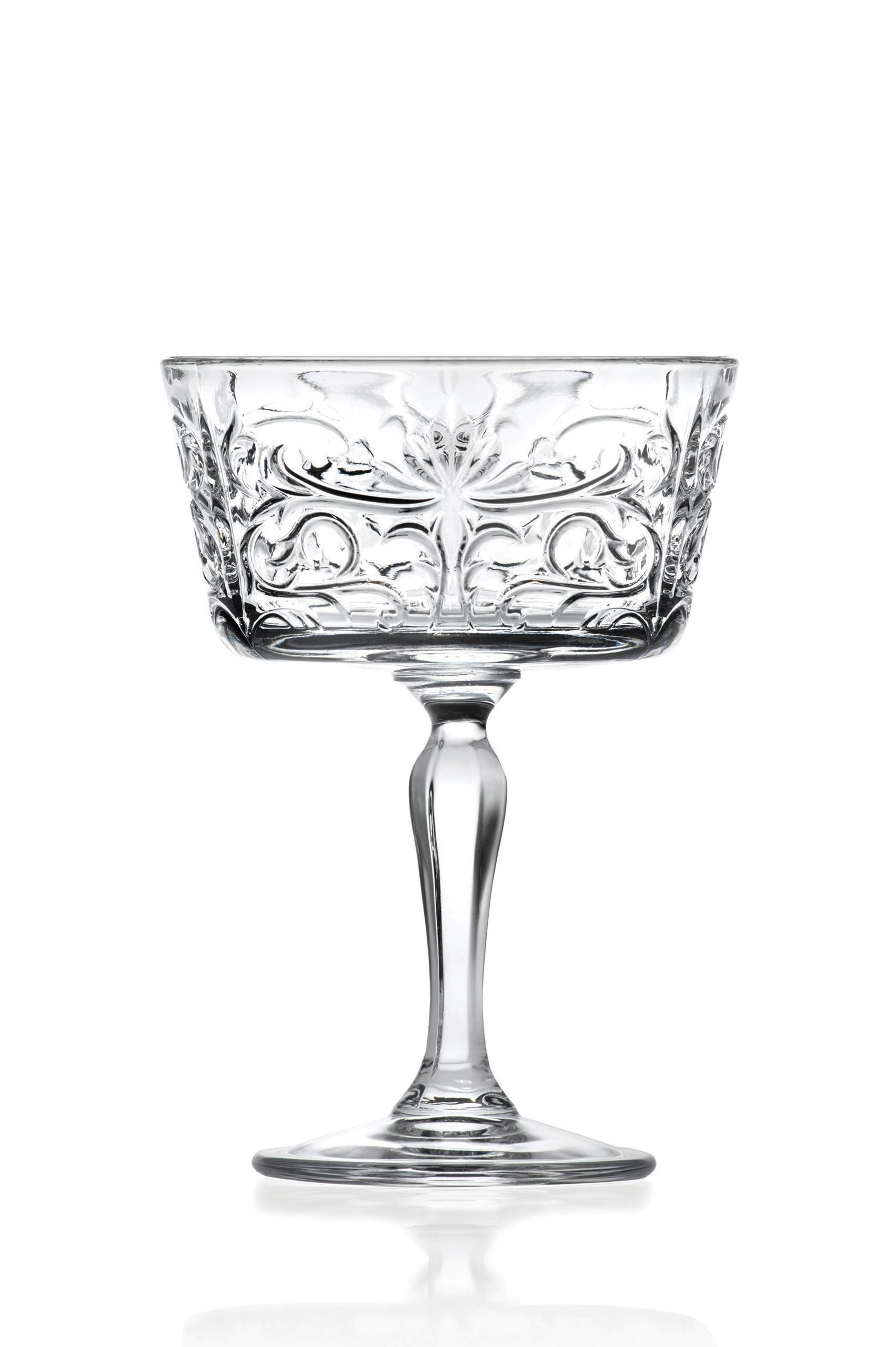 Champagne Glasses - Flute - Saucer - Belle Coupe - Set of 6 Glasses - Lead Free Crystal - Glass has Tattoo Design -9 oz. - by Barski - Made in Europe