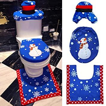 Pawaca Santa Toilette Dekor 3 Stück Glücklich Schneemann Wc Sitz Bezug Und Teppich Badezimmer Set Für Weihnachten Dekoration Blau
