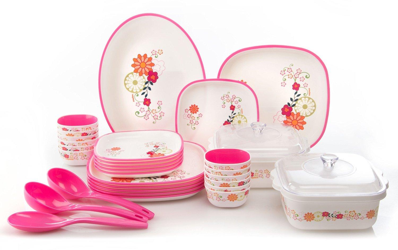 Nayasa 32 pcs printed square dinner set- Pink