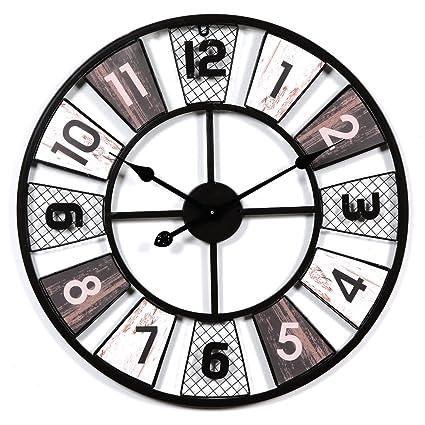 Reloj de pared grande vintage, CT-Tribe, 60 cm, de metal, silencioso, sin sonido de tic: Amazon.es: Hogar