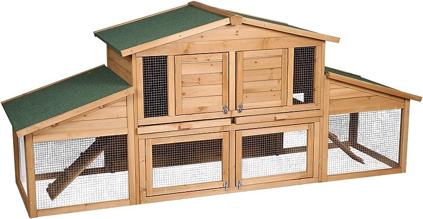HOLISTAR Hasenstall Kaninchenstall Hasenkäfig Meerschweinchen wetterfest für draußen 2 Ebenen 0430001