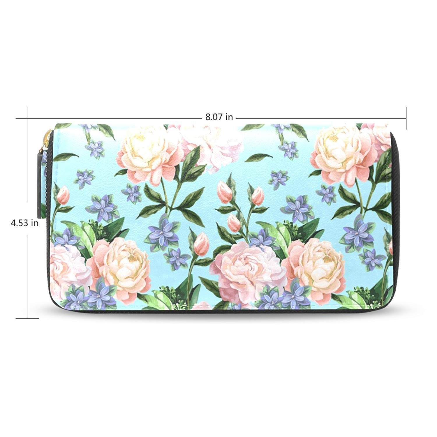 Long Peony Passport Wallets Classic Style Travel Clutch Purse Handbag