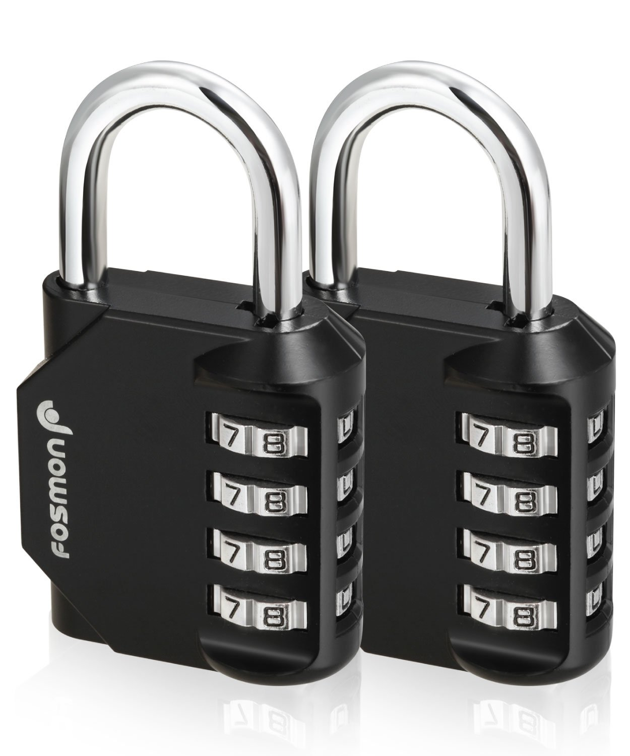 Fosmon Combination Lock (2 Pack) 4 Digit Padlock with Metal Alloy Body for School, Gym Locker, Gate, Bike Lock, Hasp and Storage - Black