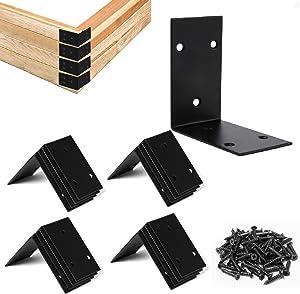 16 Pcs Garden Bed Corner Bracket- Black Pre-drilled Metal Garden Bed Corner Braces with M4 × 20MM Screws Planter Box Right Angle Brackets for Connecting Garden Bed