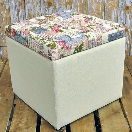 32cm shabby chic floral rose cream fabric covered footstool storage rh amazon co uk shabby chic footstool ebay large shabby chic footstool