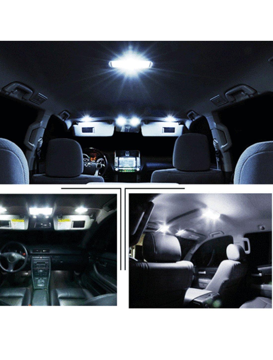 sourcingmap 10PCS White LED Map Dome Light Bulb Lamp Interior Package Kit