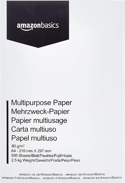 AmazonBasics Papel multiusos para impresora A4 80gsm, 1 paquete, 500 hojas, blanco: Amazon.es: Oficina y papelería