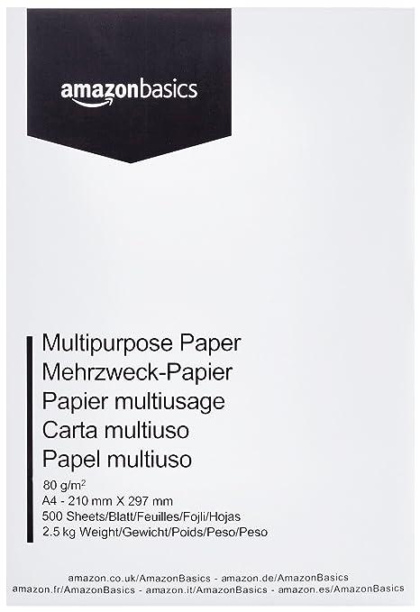 7c01f6418 AmazonBasics Papel multiusos para impresora A4 80gsm