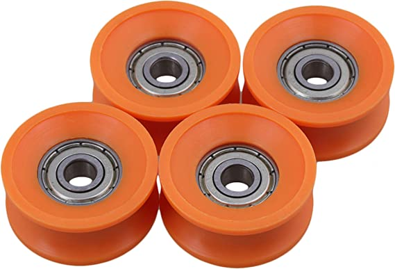 4Pcs 5217mm 625zz U Groove Guide Pulley Sealed Rail Ball Bearing Nylon Embedded